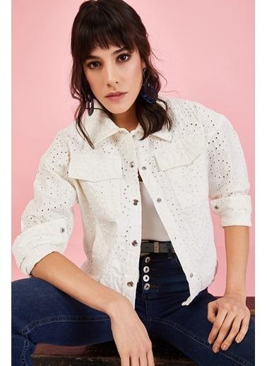 ESQ Çıtçıtlı Fisto Ceket Beyaz